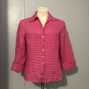 TRACY M Hot Pink Linen Tuxedo Button Down Top M